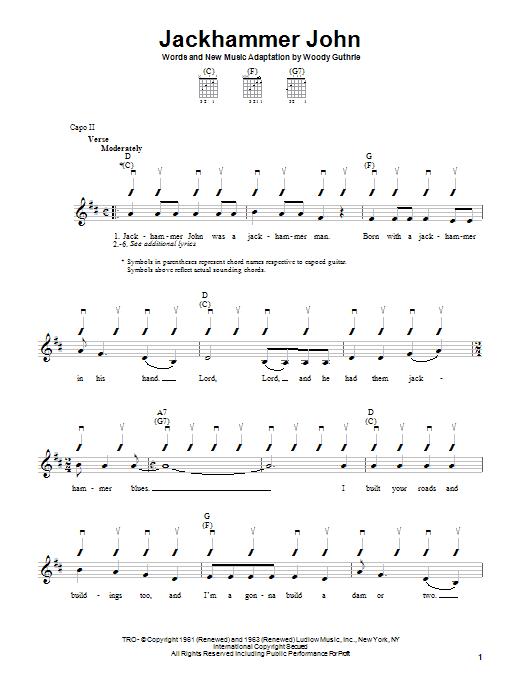 Woody Guthrie Jackhammer John sheet music notes and chords