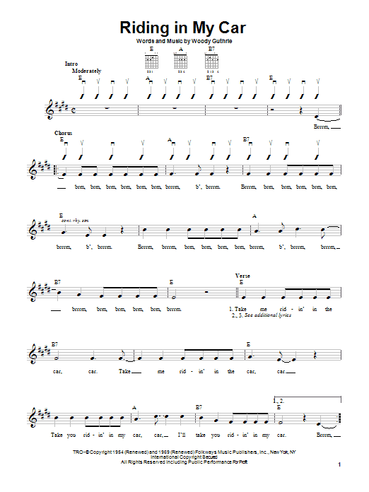 Woody Guthrie Riding In My Car sheet music notes and chords. Download Printable PDF.
