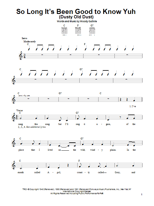 Woody Guthrie So Long It's Been Good To Know Yuh (Dusty Old Dust) sheet music notes and chords