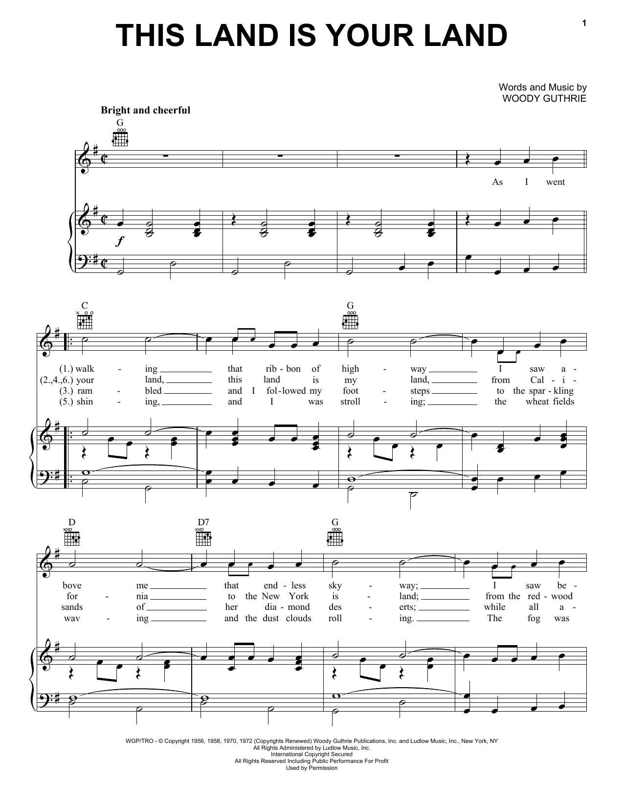 Woody Guthrie This Land Is Your Land sheet music notes and chords