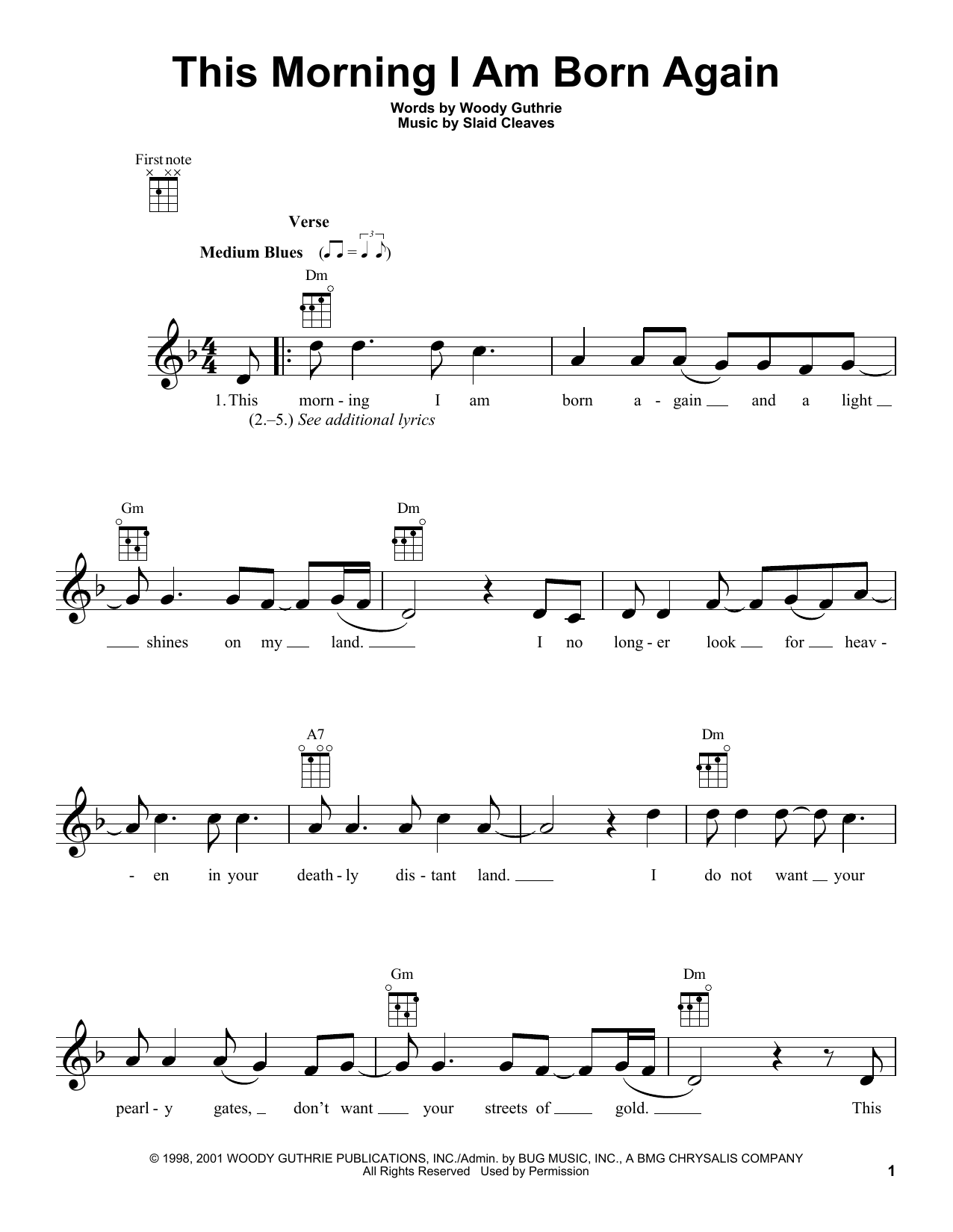 Woody Guthrie 'This Morning I Am Born Again' Sheet Music Notes, Chords |  Download Printable Ukulele - SKU: 155627