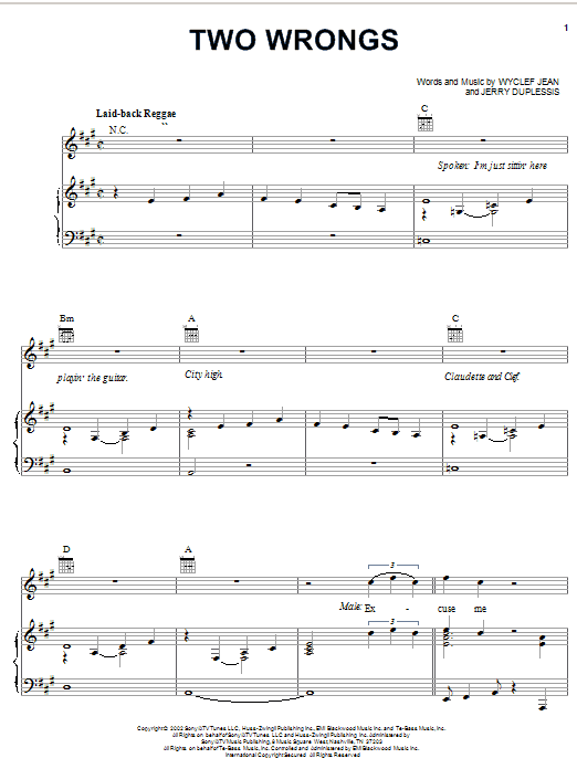 Wyclef Jean Two Wrongs (feat. Claudette Ortiz) sheet music notes and chords