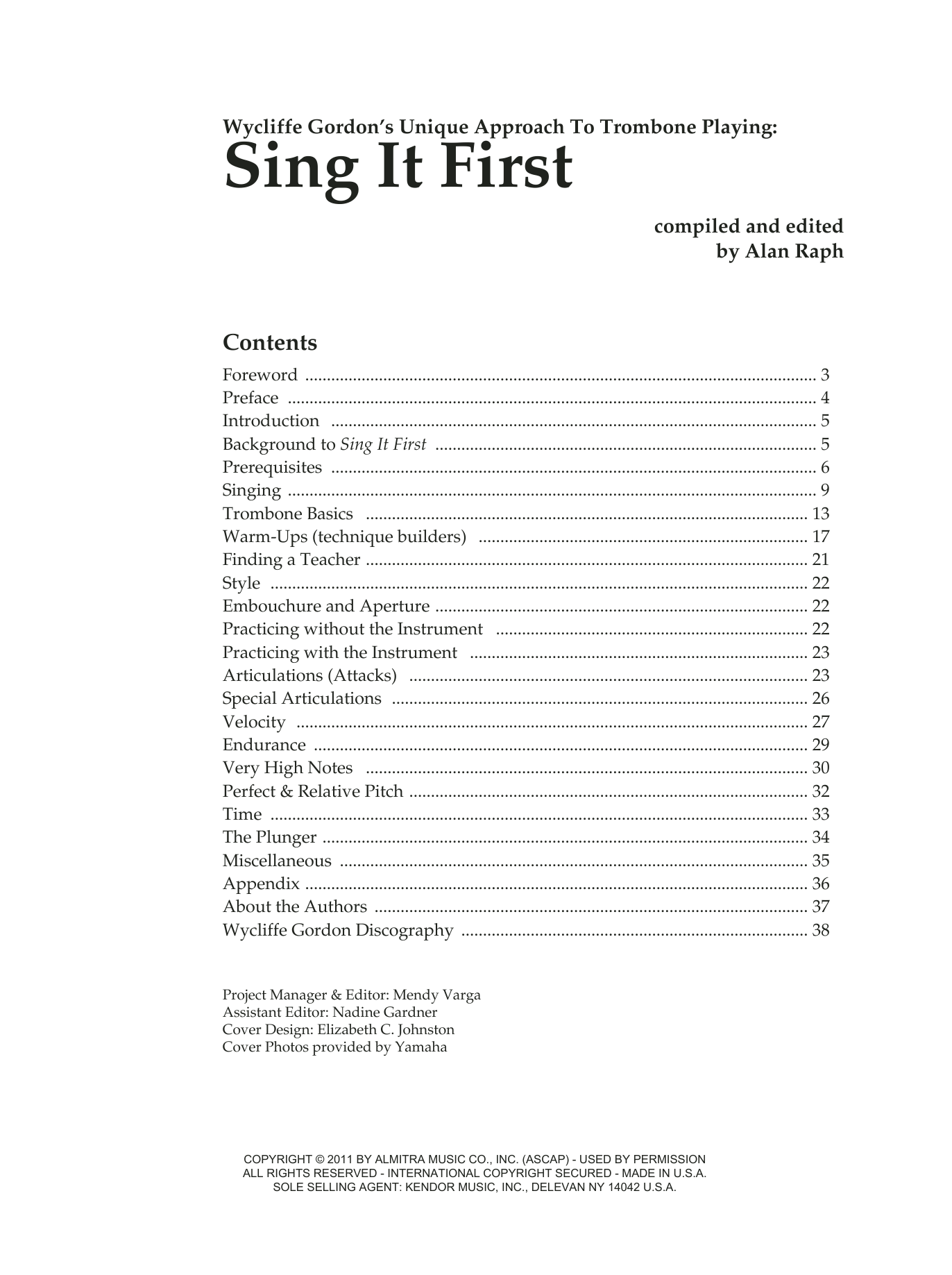 Wycliffe Gordon Sing It First (Wycliffe Gordon's Unique Approach To Trombone Playing) sheet music notes and chords. Download Printable PDF.