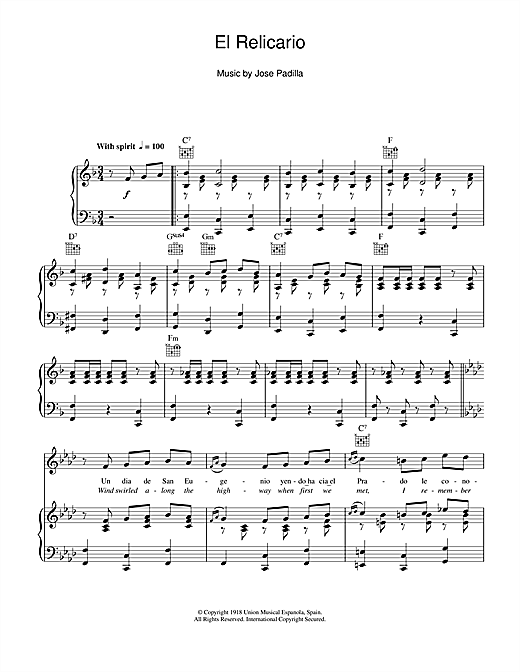 Xavier Cugat El Relicario sheet music notes and chords. Download Printable PDF.