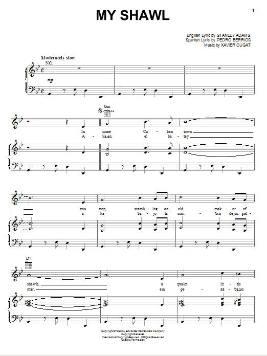 Xavier Cugat My Shawl sheet music notes and chords. Download Printable PDF.