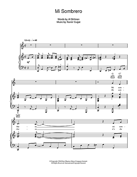 Xavier Cugat My Sombrero sheet music notes and chords. Download Printable PDF.