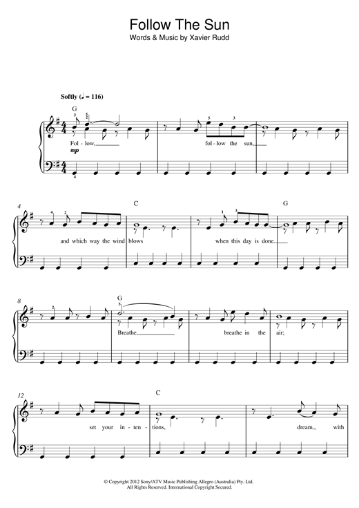 Xavier Rudd Follow The Sun sheet music notes and chords. Download Printable PDF.