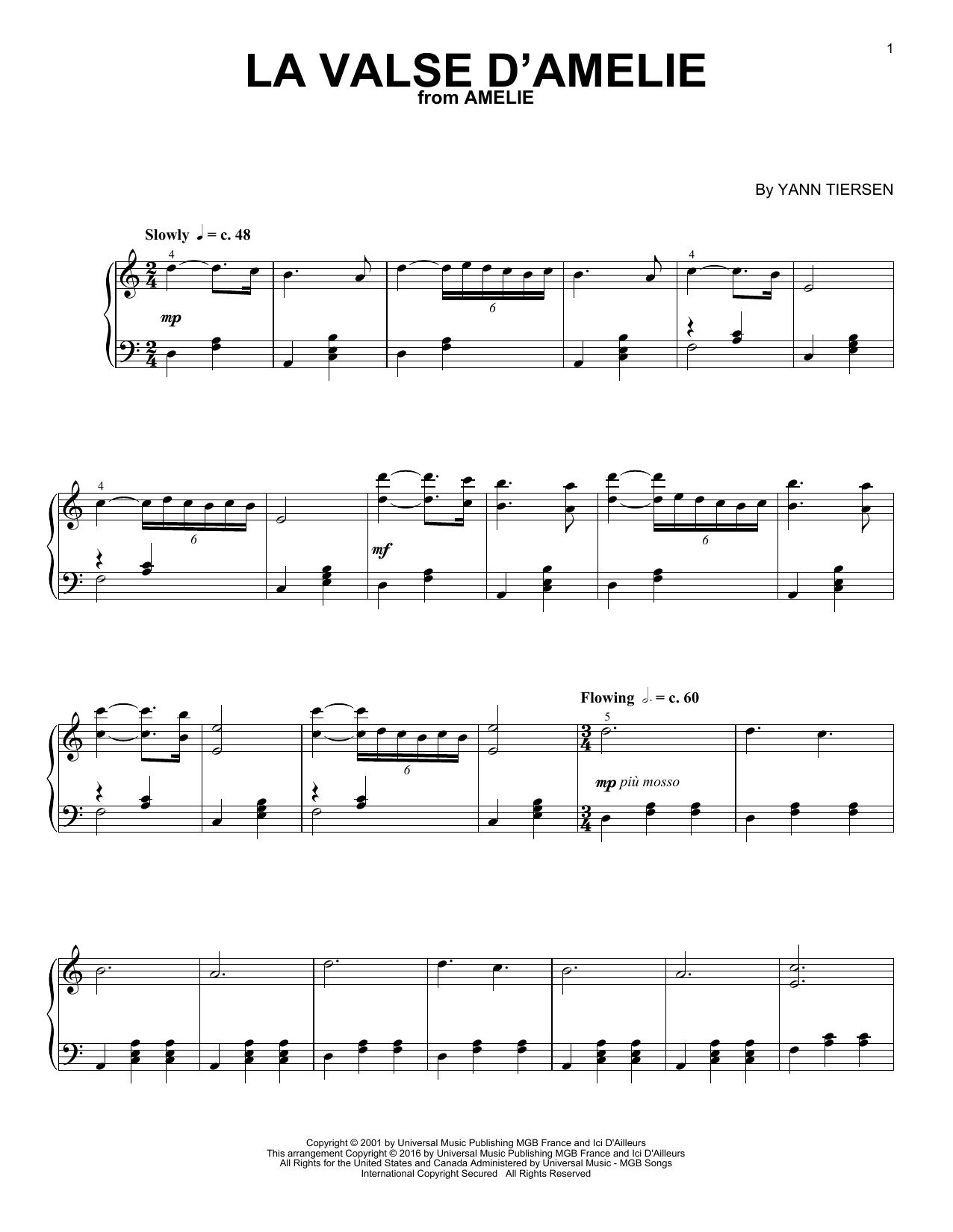 Yann Tiersen La Valse D'Amelie sheet music notes and chords