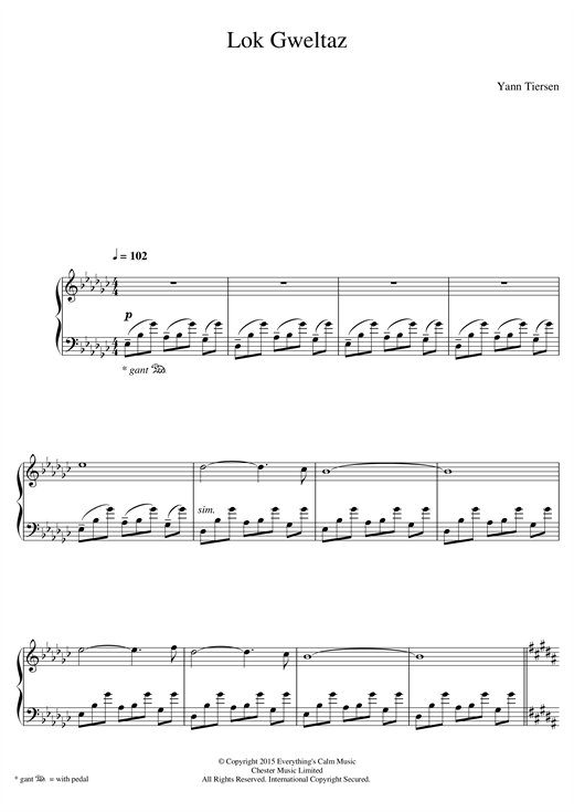 Yann Tiersen Lok Gweltaz sheet music notes and chords. Download Printable PDF.