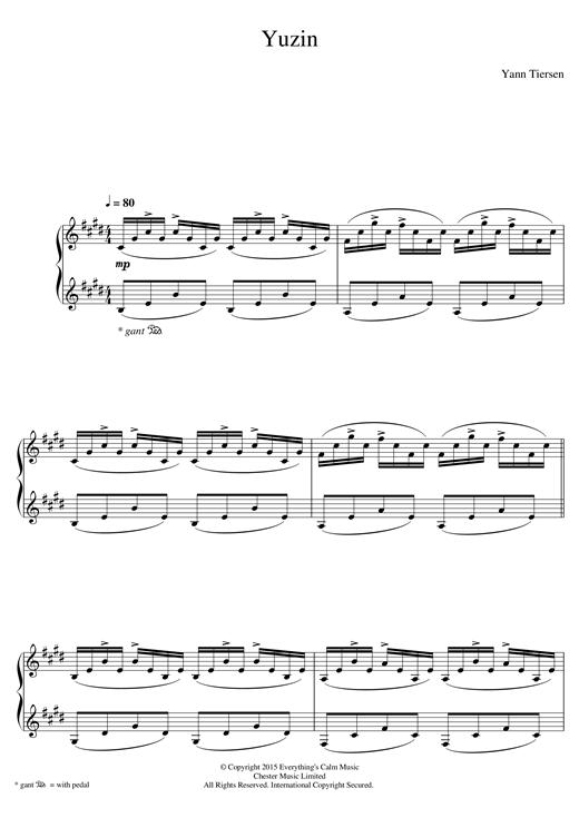 Yann Tiersen Yuzin sheet music notes and chords. Download Printable PDF.