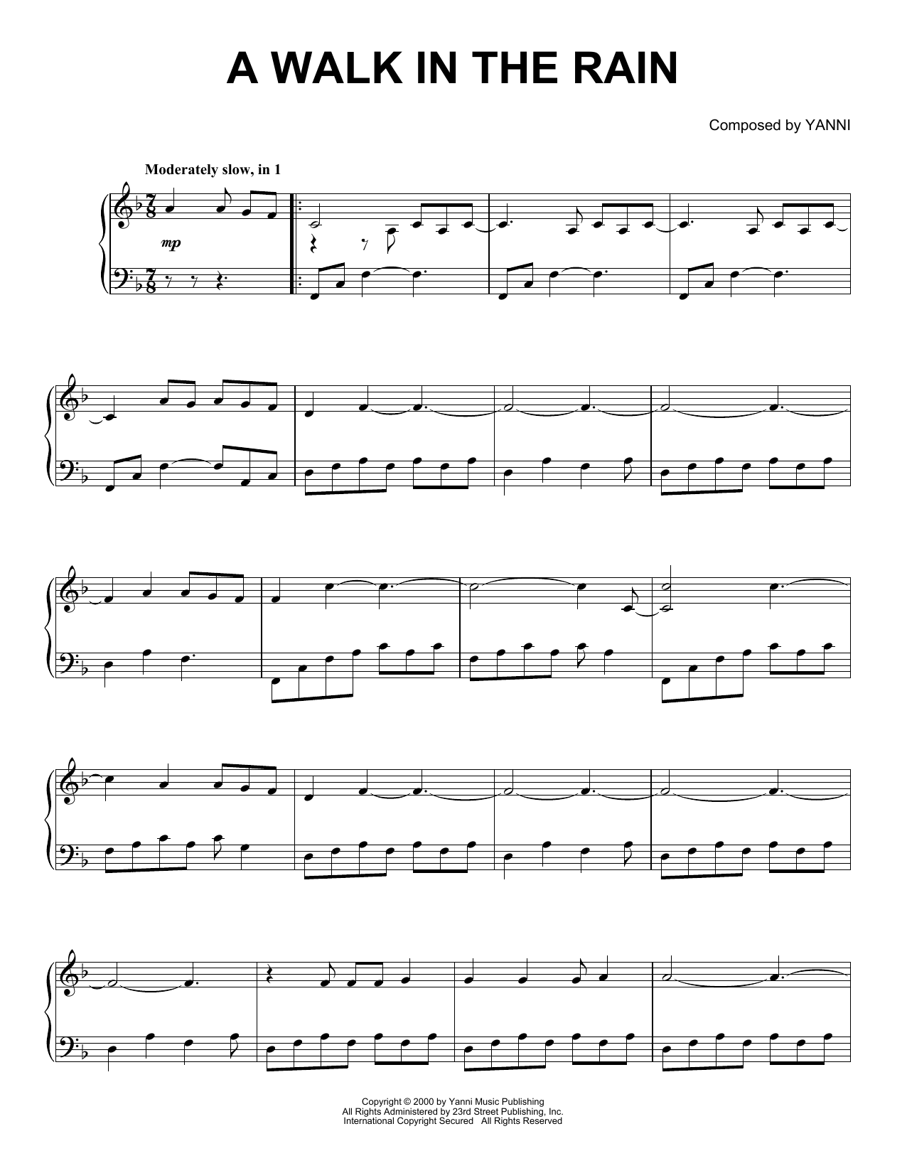 Yanni A Walk In The Rain sheet music notes and chords