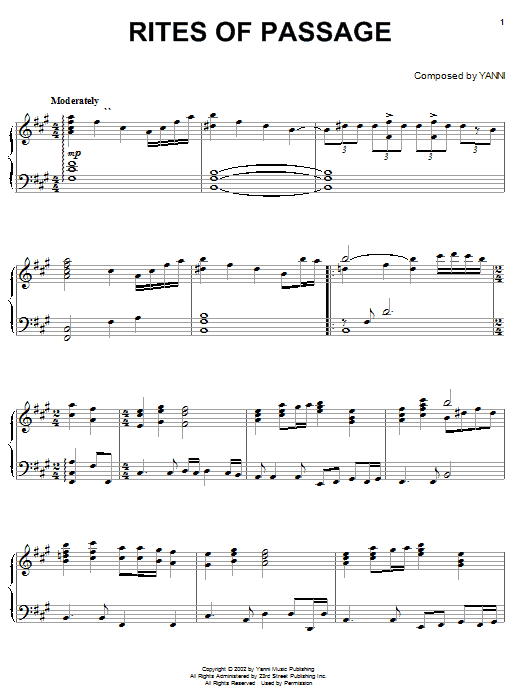 Yanni Rites Of Passage sheet music notes and chords
