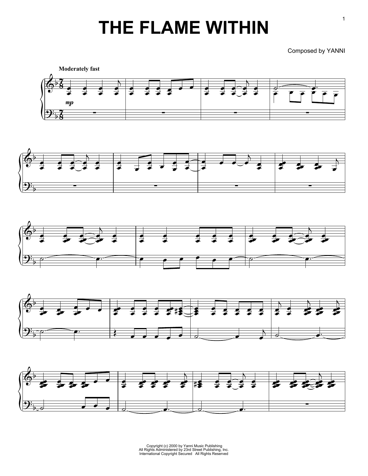 Yanni The Flame Within sheet music notes and chords. Download Printable PDF.