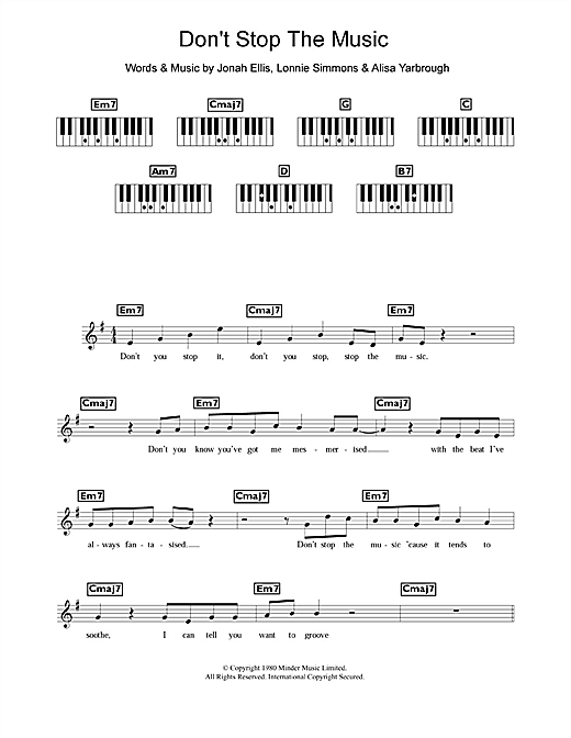 Yarbrough and Peoples Don't Stop The Music sheet music notes and chords. Download Printable PDF.