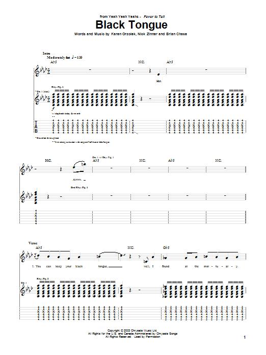 Yeah Yeah Yeahs Black Tongue sheet music notes and chords. Download Printable PDF.