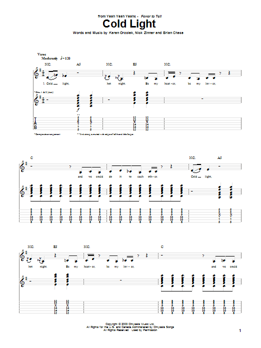 Yeah Yeah Yeahs Cold Light sheet music notes and chords. Download Printable PDF.