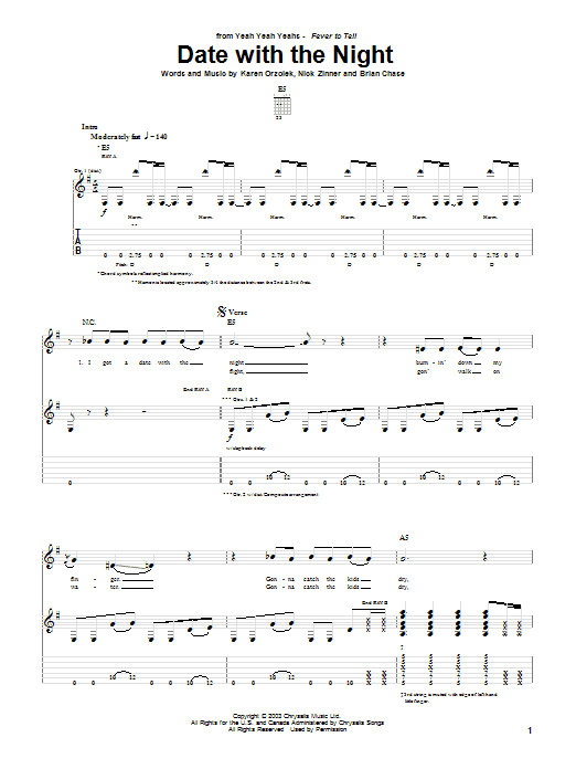 Yeah Yeah Yeahs Date With The Night sheet music notes and chords. Download Printable PDF.
