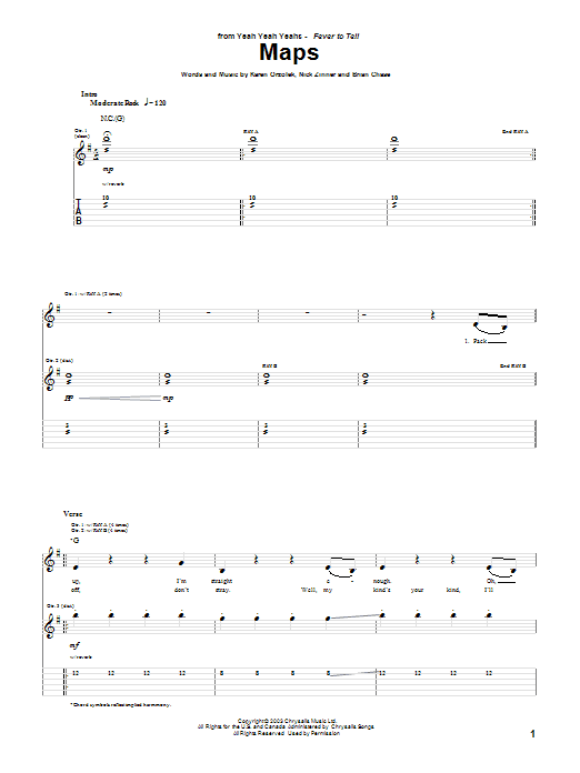 Yeah Yeah Yeahs Maps sheet music notes and chords. Download Printable PDF.