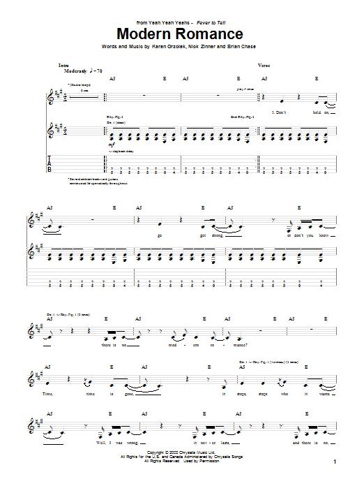 Yeah Yeah Yeahs Modern Romance sheet music notes and chords. Download Printable PDF.