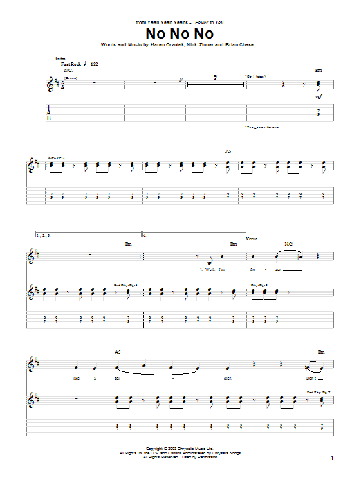 Yeah Yeah Yeahs No No No sheet music notes and chords. Download Printable PDF.