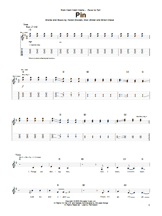 Yeah Yeah Yeahs Pin sheet music notes and chords. Download Printable PDF.