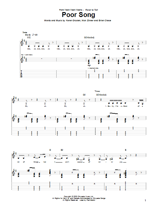 Yeah Yeah Yeahs Poor Song sheet music notes and chords. Download Printable PDF.