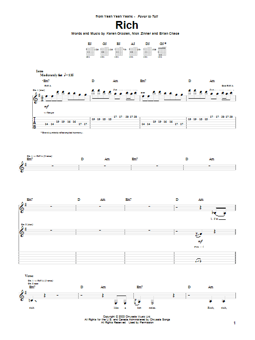 Yeah Yeah Yeahs Rich sheet music notes and chords. Download Printable PDF.