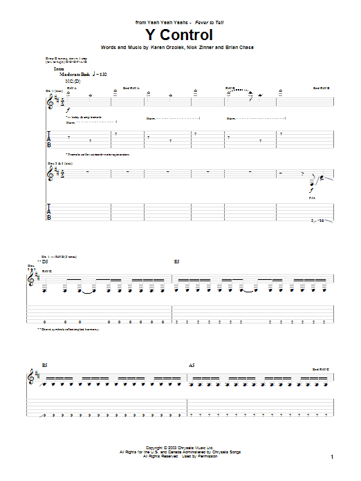 Yeah Yeah Yeahs Y Control sheet music notes and chords. Download Printable PDF.