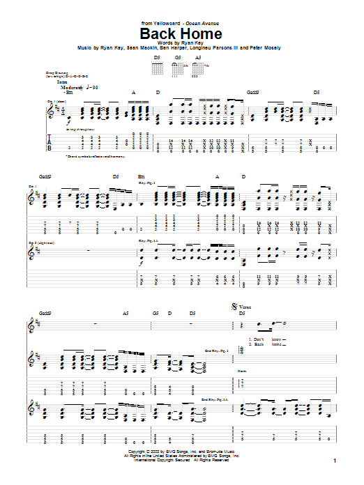 Yellowcard Back Home sheet music notes and chords. Download Printable PDF.