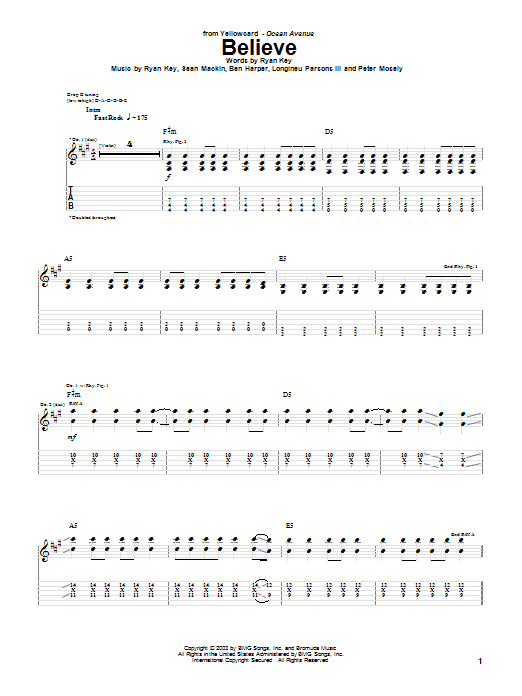 Yellowcard Believe sheet music notes and chords. Download Printable PDF.