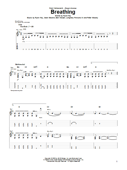 Yellowcard Breathing sheet music notes and chords. Download Printable PDF.