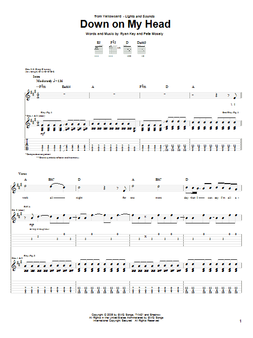 Yellowcard Down On My Head sheet music notes and chords. Download Printable PDF.