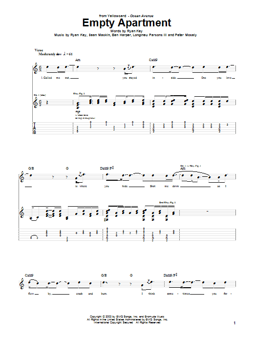 Yellowcard Empty Apartment sheet music notes and chords. Download Printable PDF.