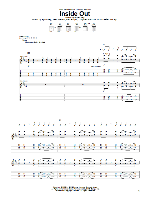 Yellowcard Inside Out sheet music notes and chords. Download Printable PDF.