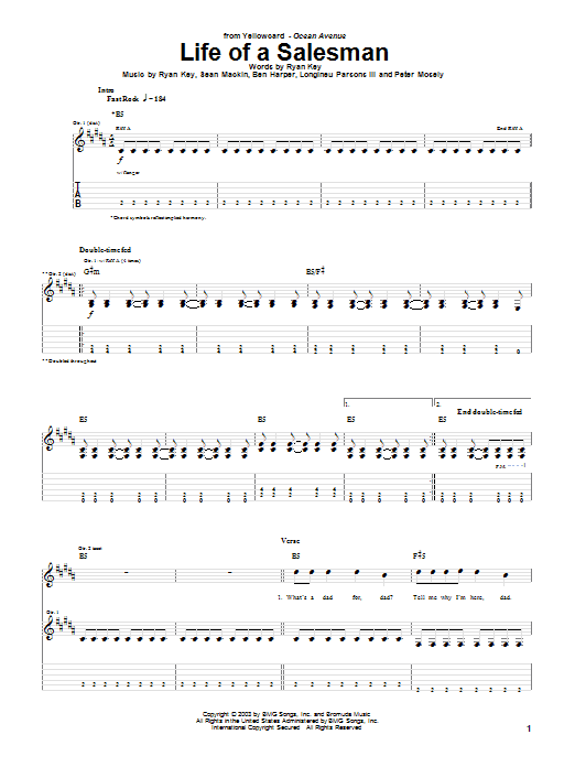 Yellowcard Life Of A Salesman sheet music notes and chords. Download Printable PDF.