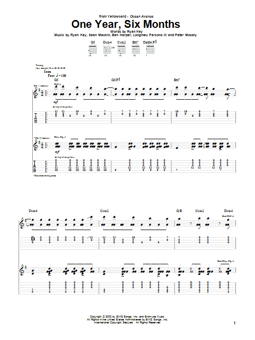 Yellowcard One Year, Six Months sheet music notes and chords. Download Printable PDF.