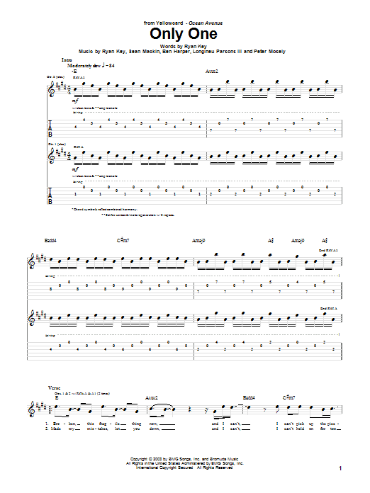 Yellowcard Only One sheet music notes and chords. Download Printable PDF.