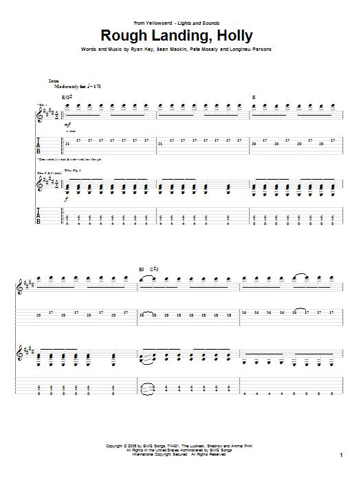 Yellowcard Rough Landing, Holly sheet music notes and chords. Download Printable PDF.