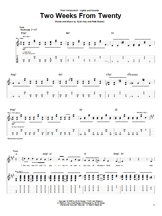 Yellowcard Two Weeks From Twenty sheet music notes and chords. Download Printable PDF.