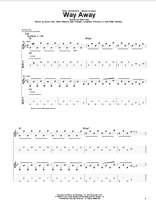 Yellowcard Way Away sheet music notes and chords. Download Printable PDF.