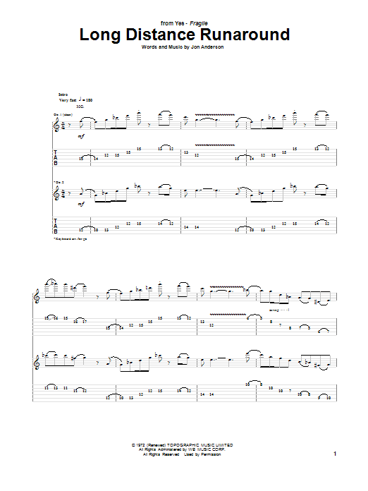 Yes Long Distance Runaround sheet music notes and chords. Download Printable PDF.