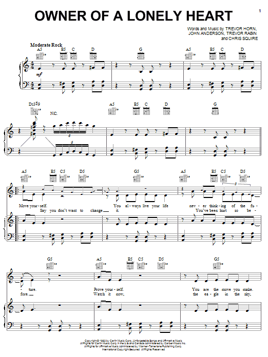 Yes Owner Of A Lonely Heart sheet music notes and chords. Download Printable PDF.