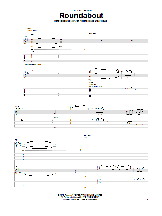 Yes Roundabout sheet music notes and chords. Download Printable PDF.