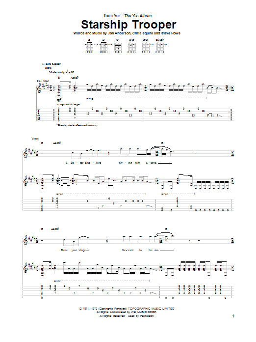 Yes Starship Trooper sheet music notes and chords. Download Printable PDF.