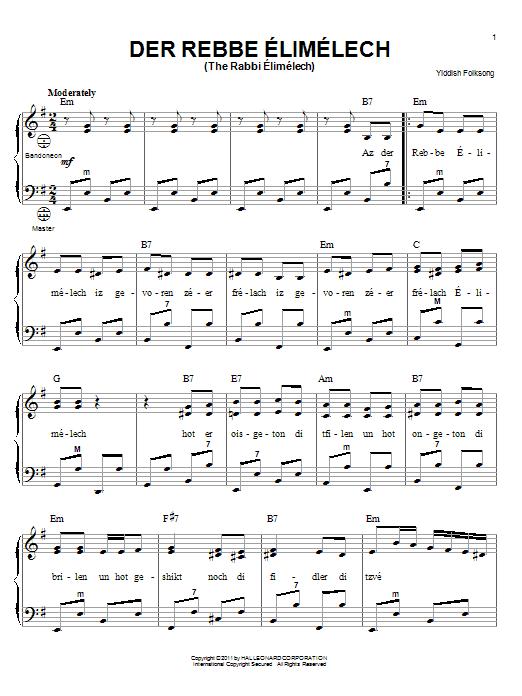 Yiddish Folksong Der Rebbe Elimelech (The Rabbi Elimelech) sheet music notes and chords. Download Printable PDF.