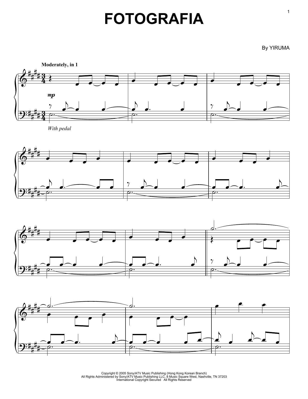 Yiruma Fotografia sheet music notes and chords
