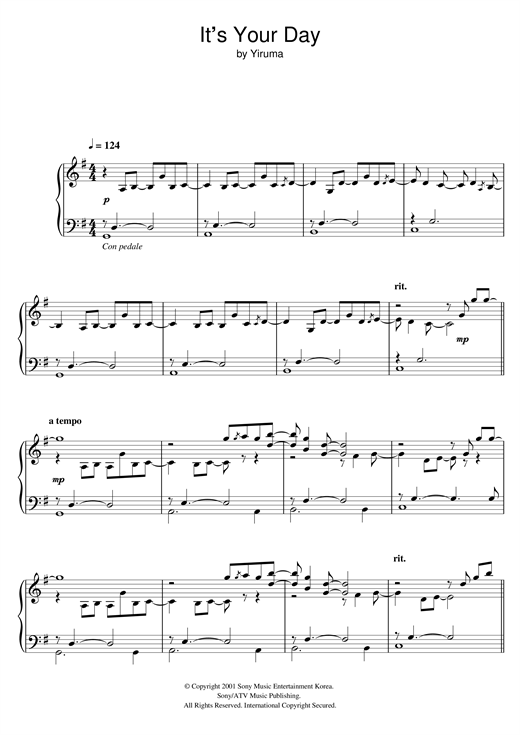 Yiruma It's Your Day sheet music notes and chords