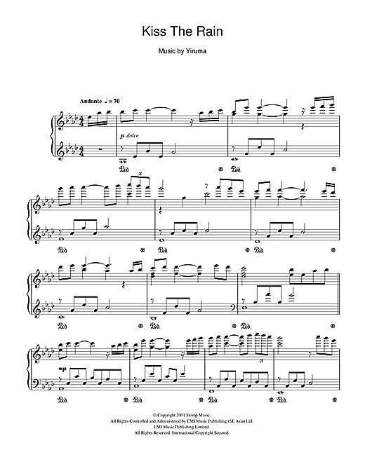 Yiruma Kiss The Rain sheet music notes and chords. Download Printable PDF.