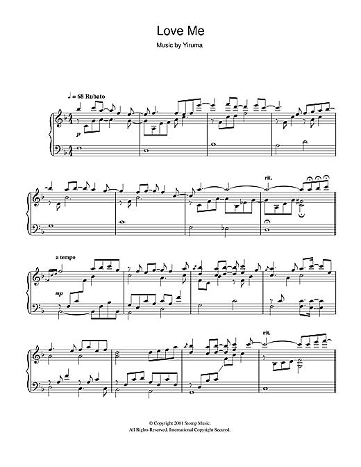Yiruma Love Me sheet music notes and chords. Download Printable PDF.