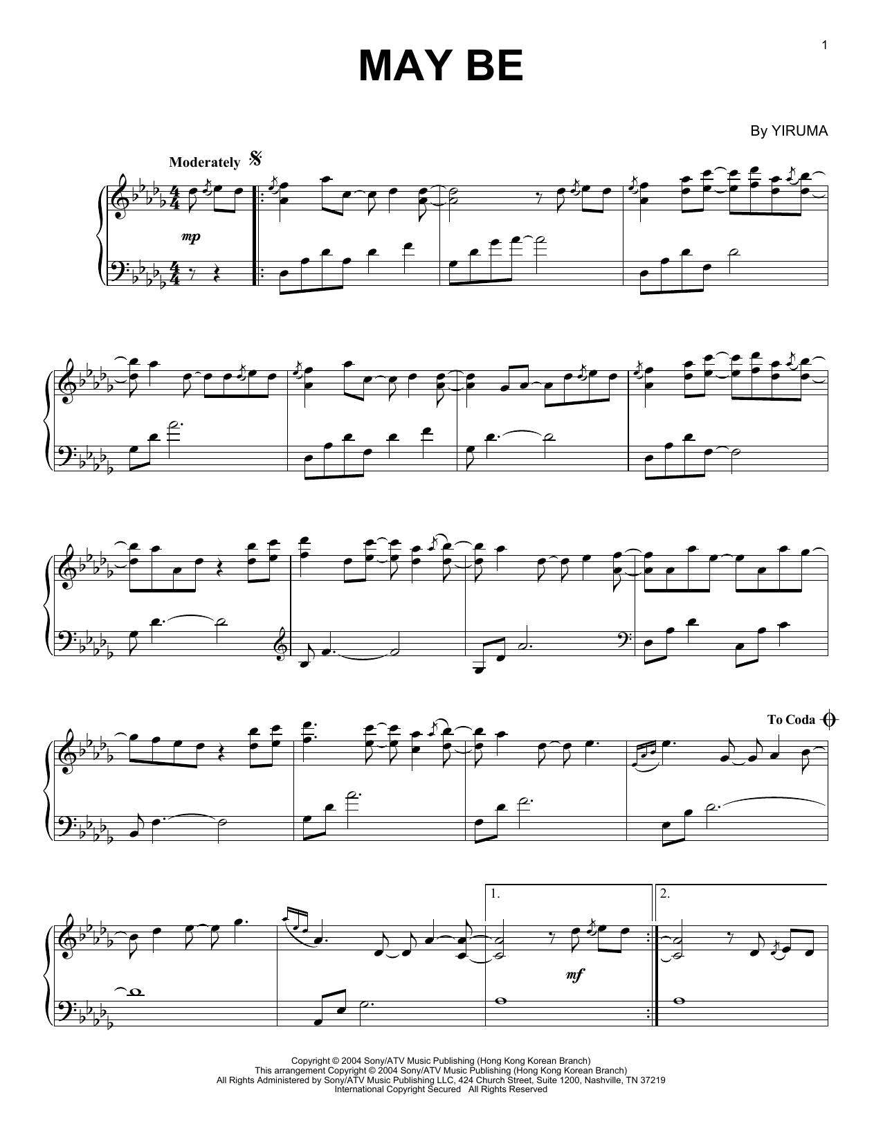 Yiruma May Be sheet music notes and chords. Download Printable PDF.